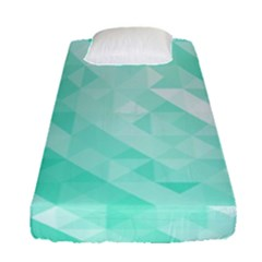 Bright Green Turquoise Geometric Background Fitted Sheet (single Size) by TastefulDesigns