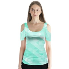 Bright Green Turquoise Geometric Background Butterfly Sleeve Cutout Tee