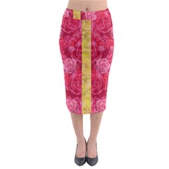Rose And Roses And Another Rose Midi Pencil Skirt by pepitasart
