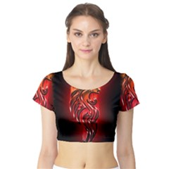Dragon Fire Short Sleeve Crop Top (tight Fit)