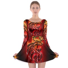 Dragon Fire Long Sleeve Skater Dress