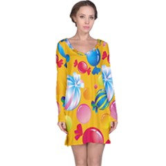 Sweets And Sugar Candies Vector  Long Sleeve Nightdress