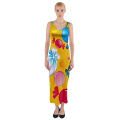 Sweets And Sugar Candies Vector  Fitted Maxi Dress