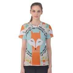 Foxy Fox Canvas Art Print Traditional Women s Cotton Tee