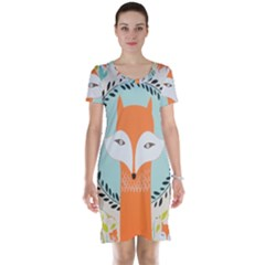 Foxy Fox Canvas Art Print Traditional Short Sleeve Nightdress