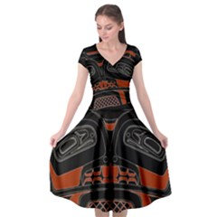 Traditional Northwest Coast Native Art Cap Sleeve Wrap Front Dress