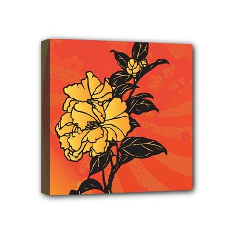 Vector Asian Flowers Mini Canvas 4  X 4
