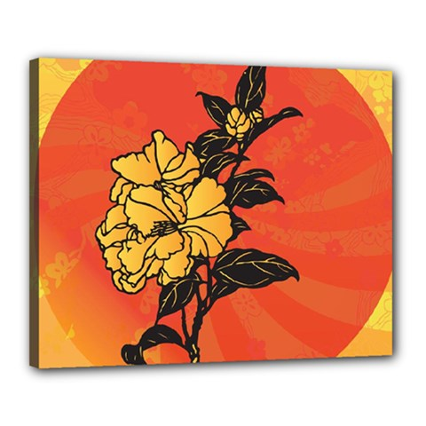 Vector Asian Flowers Canvas 20  X 16