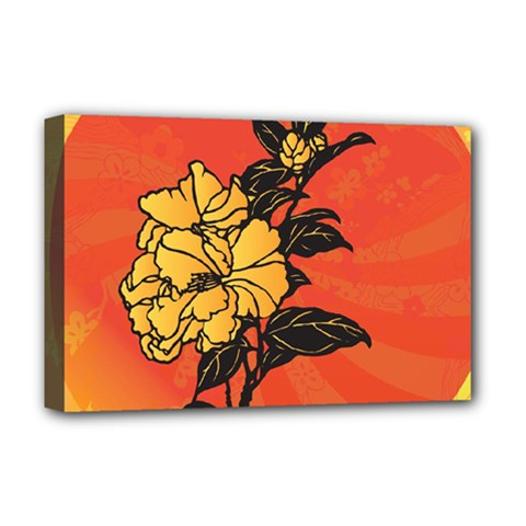Vector Asian Flowers Deluxe Canvas 18  X 12