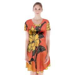 Vector Asian Flowers Short Sleeve V Neck Flare Dress