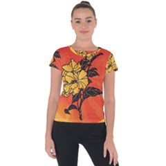 Vector Asian Flowers Short Sleeve Sports Top