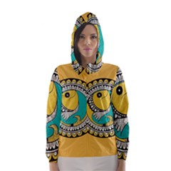 Madhubani Fish Indian Ethnic Pattern Hooded Wind Breaker (women)