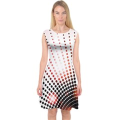Radial Dotted Lights Capsleeve Midi Dress