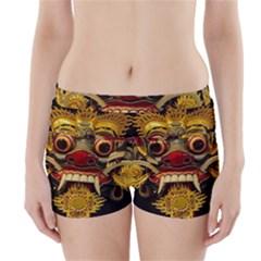 Bali Mask Boyleg Bikini Wrap Bottoms by BangZart