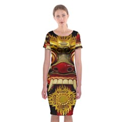 Bali Mask Classic Short Sleeve Midi Dress