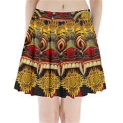 Bali Mask Pleated Mini Skirt