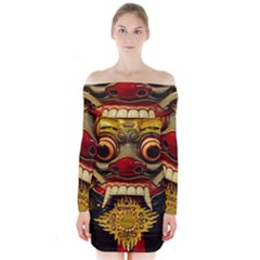 Bali Mask Long Sleeve Off Shoulder Dress
