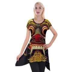 Bali Mask Short Sleeve Side Drop Tunic