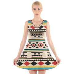 Tribal Pattern V Neck Sleeveless Skater Dress