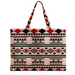 Tribal Pattern Medium Zipper Tote Bag