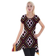 Toraja Pattern Pa re po  Sanguba ( Dancing Alone ) Short Sleeve Side Drop Tunic by BangZart