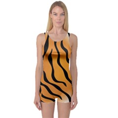 Tiger Skin Pattern One Piece Boyleg Swimsuit