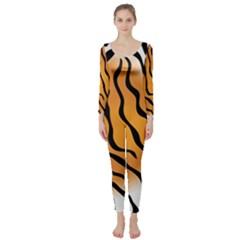 Tiger Skin Pattern Long Sleeve Catsuit