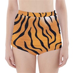 Tiger Skin Pattern High Waisted Bikini Bottoms