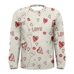 Pattern Hearts Kiss Love Lips Art Vector Men s Long Sleeve Tee
