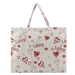 Pattern Hearts Kiss Love Lips Art Vector Zipper Large Tote Bag