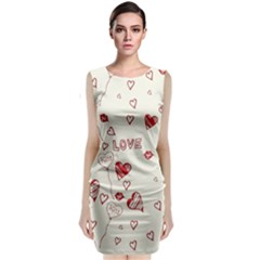 Pattern Hearts Kiss Love Lips Art Vector Classic Sleeveless Midi Dress