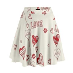 Pattern Hearts Kiss Love Lips Art Vector High Waist Skirt by BangZart