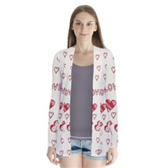 Pattern Hearts Kiss Love Lips Art Vector Drape Collar Cardigan