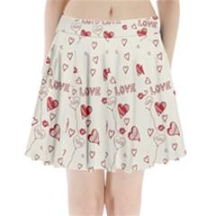 Pattern Hearts Kiss Love Lips Art Vector Pleated Mini Skirt