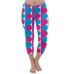 Pink And Bluedots Pattern Capri Winter Leggings