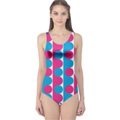 Pink And Bluedots Pattern One Piece Swimsuit