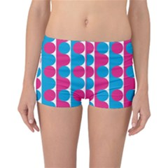 Pink And Bluedots Pattern Reversible Boyleg Bikini Bottoms