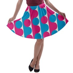 Pink And Bluedots Pattern A Line Skater Skirt