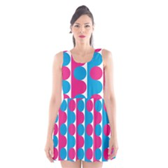 Pink And Bluedots Pattern Scoop Neck Skater Dress