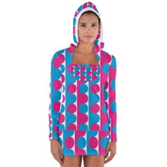 Pink And Bluedots Pattern Long Sleeve Hooded T Shirt