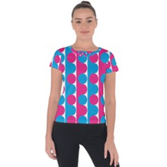 Pink And Bluedots Pattern Short Sleeve Sports Top