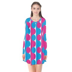 Pink And Bluedots Pattern Flare Dress