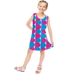Pink And Bluedots Pattern Kids  Tunic Dress