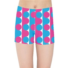 Pink And Bluedots Pattern Kids Sports Shorts