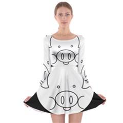 Pig Logo Long Sleeve Skater Dress