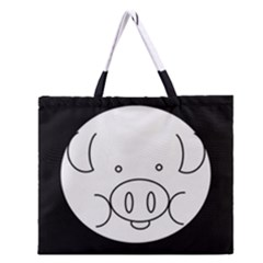 Pig Logo Zipper Large Tote Bag