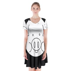Pig Logo Short Sleeve V Neck Flare Dress