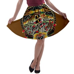 Tattoo Art Print Traditional Artwork Lighthouse Wave A Line Skater Skirt