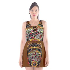 Tattoo Art Print Traditional Artwork Lighthouse Wave Scoop Neck Skater Dress