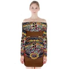 Tattoo Art Print Traditional Artwork Lighthouse Wave Long Sleeve Off Shoulder Dress